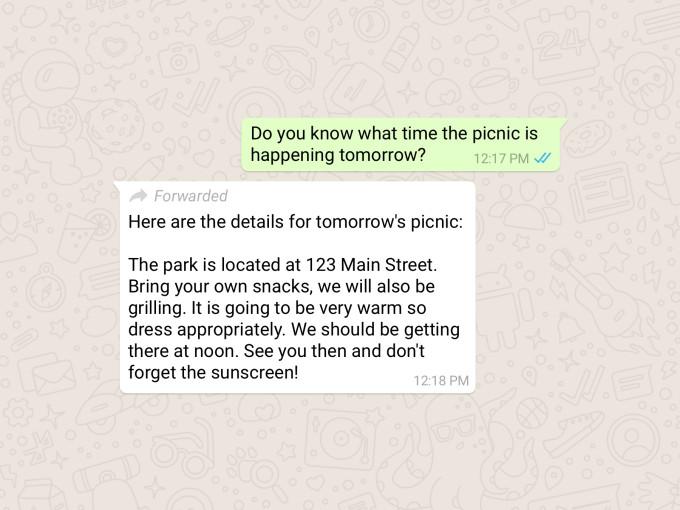 Пометки о пересылаемых сообщениях в WhatsApp