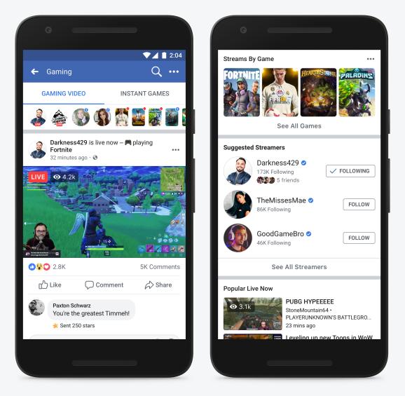 Страница с рекомендуемыми стримами в Facebook