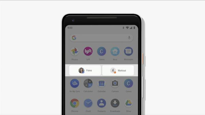 Функция «Действия» в Android P