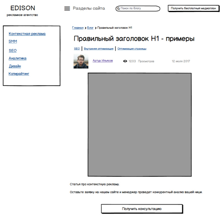 Как мы продумали прототип блога - Edison