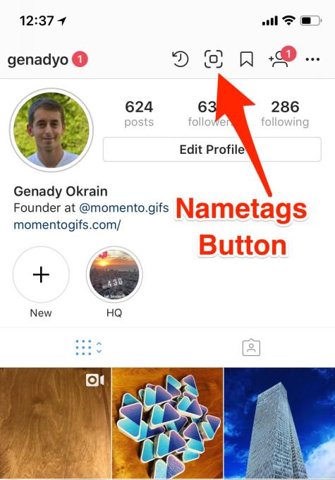 Кнопка Nametags в Instagram