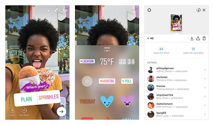 В социальная сеть Instagram Stories появились опросы