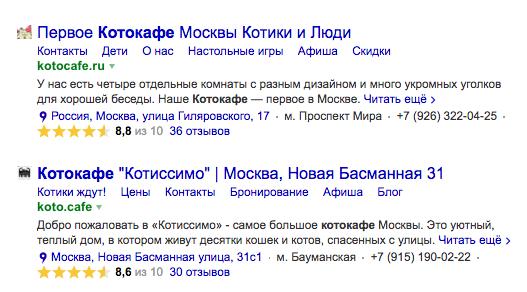 Рейтинг организации в Яндекс.Поиске