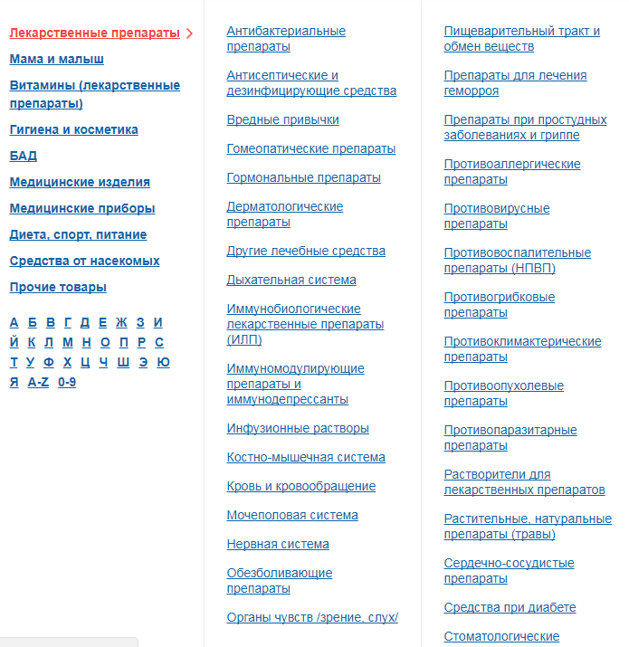 Поиск нужных лекарств онлайн-аптеке