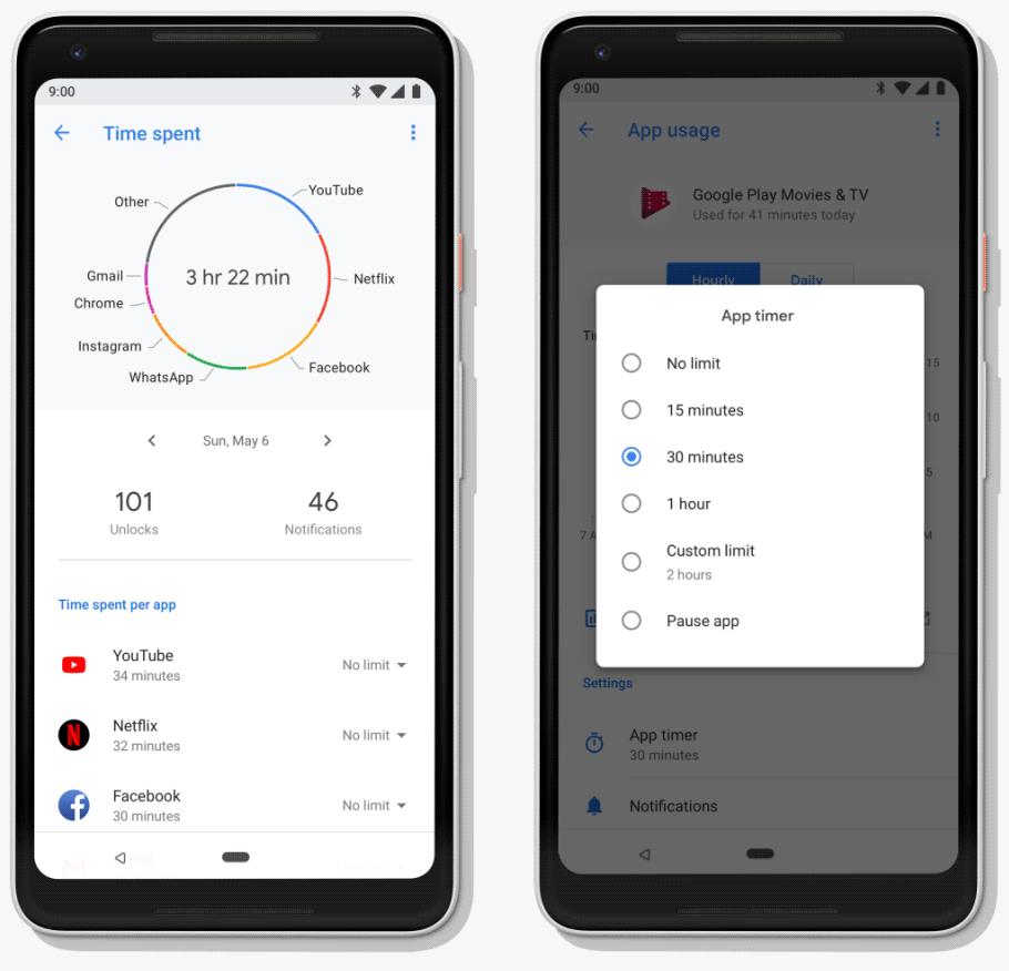 Контроль времени использования телефона в Android P