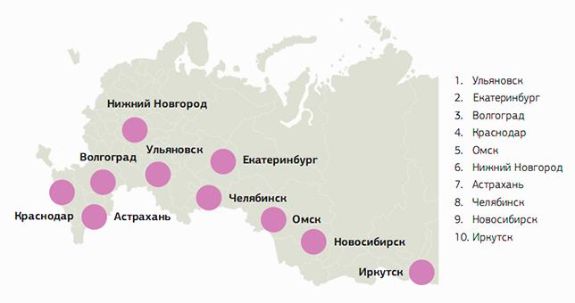 Топ-10 городов по количеству электронных регистраций и покупок электронных билетов на мероприятия (Москва и Санкт-Петербург не включены)