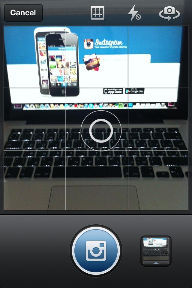 Экран камеры Instagram