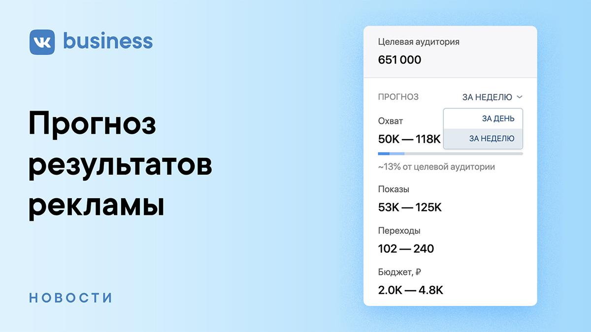 Прогноз результатов рекламы в ВКонтакте