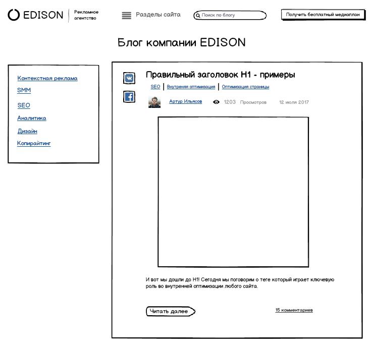 Прототип страницы «Категории» в блоге Edison