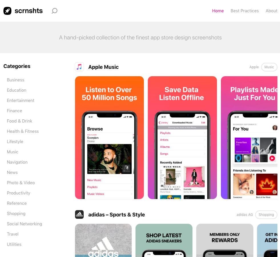 Коллекция скриншотов наиболее популярных приложений App Store
