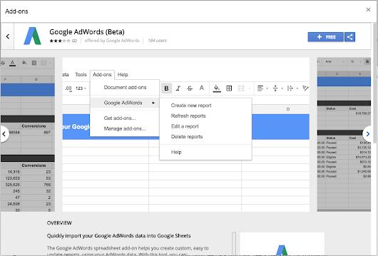 Google AdWords выпустили дополнение для Google Таблиц