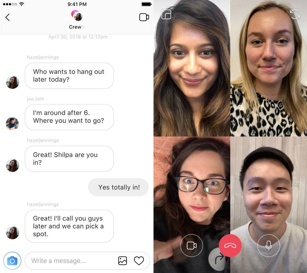 Групповые звонки в Instagram