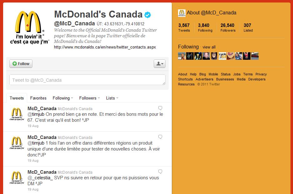 McDonald's Canada Twitter